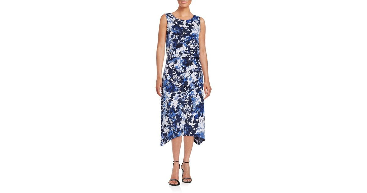 a7db3d61ef7 T Tahari Nessa Sleeveless Printed Dress W twist in Blue - Lyst