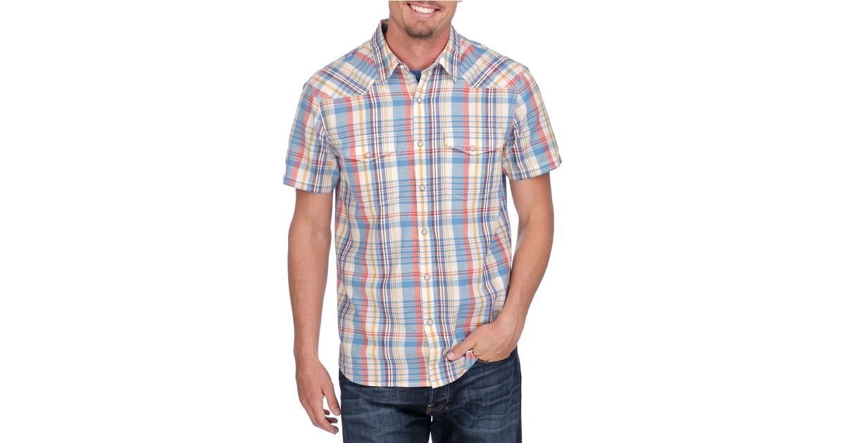 Lucky brand jesse western plaid button down shirt in blue for Lucky brand button down shirts