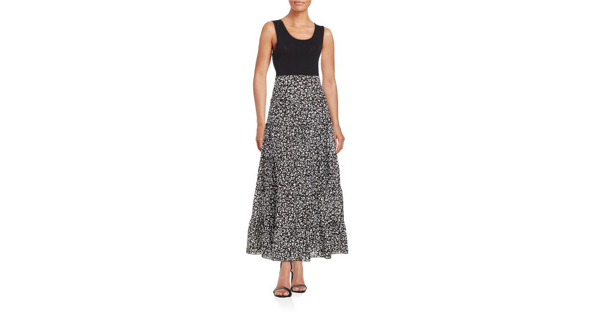 Lyst Lord Taylor Floral Maxi Dress In Black