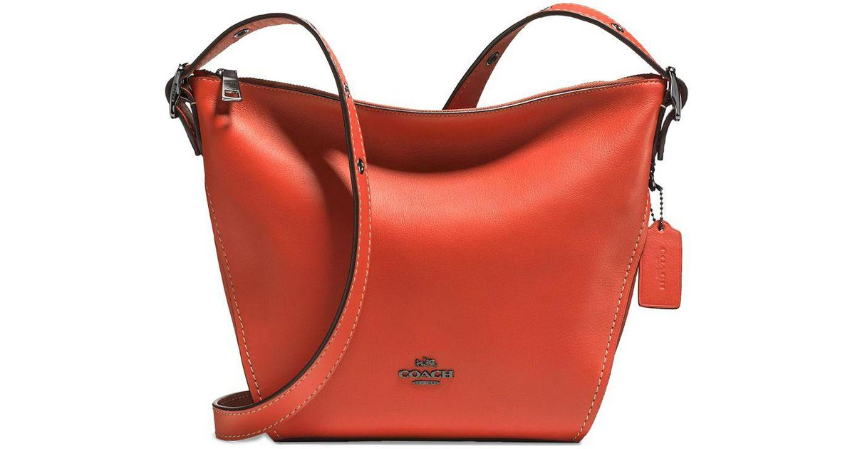 f20c21f3637c ... coupon code for lyst coach mini dufflette leather shoulder bag in  orange e0793 942df