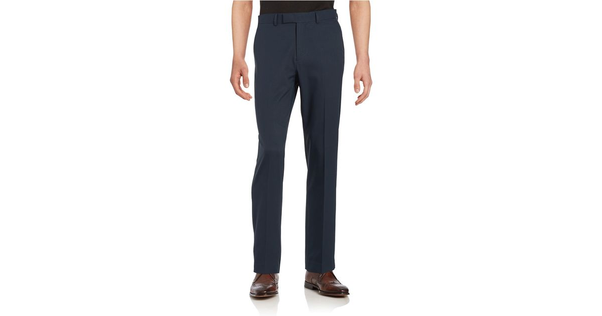 Dockers no iron slim fit flat front herringbone dress pant in blue for men lyst - How to unwrinkle your clothes with no iron ...