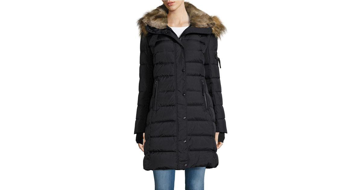 S13 Nyc Faux Fur Matte Uptown Puffer Coat In Black Lyst