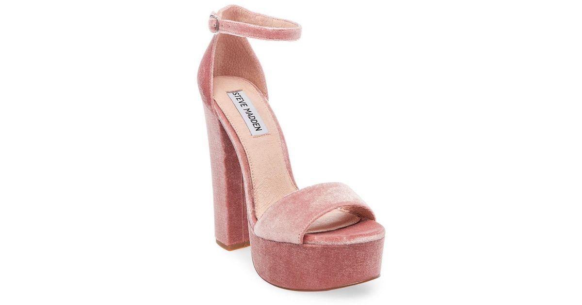 b0b2b557dc06 Steve Madden Gonzo Velvet Ankle Strap Block Heel Platform Dress Sandals in  Pink - Lyst