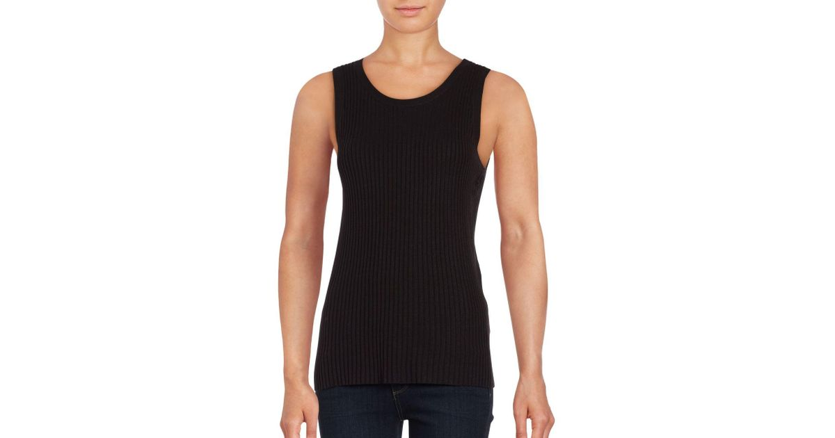Lord Taylor Petite Ribbed Knit Shell In Black Lyst