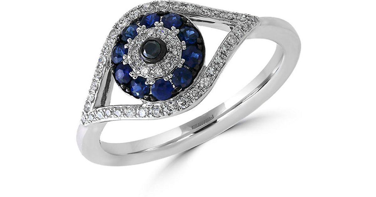 Effy Royale Bleu Sapphire Diamond And 14k White Gold Evil