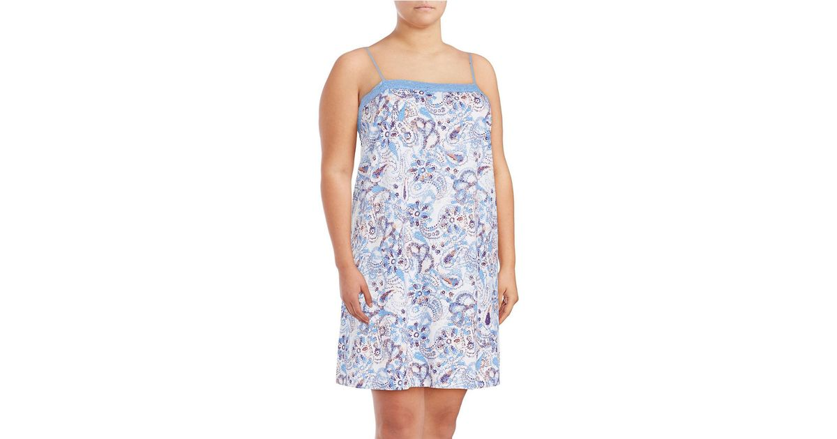 lord taylor paisley printed pima cotton lace dress in