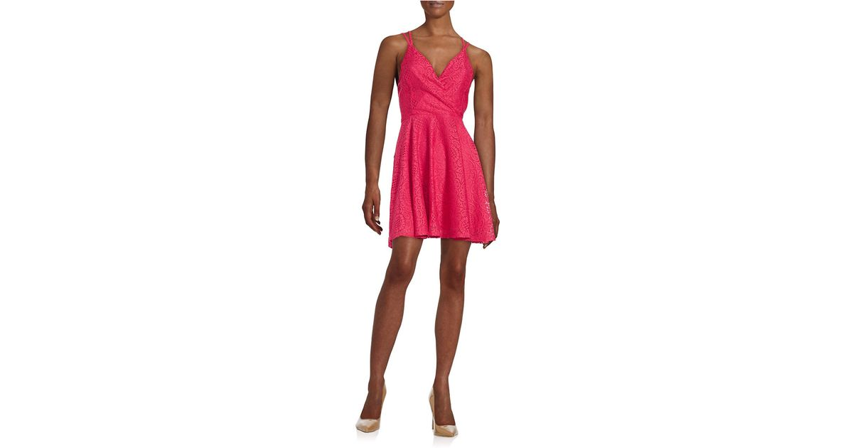 lord taylor floral lace fit and flare dress in pink lyst