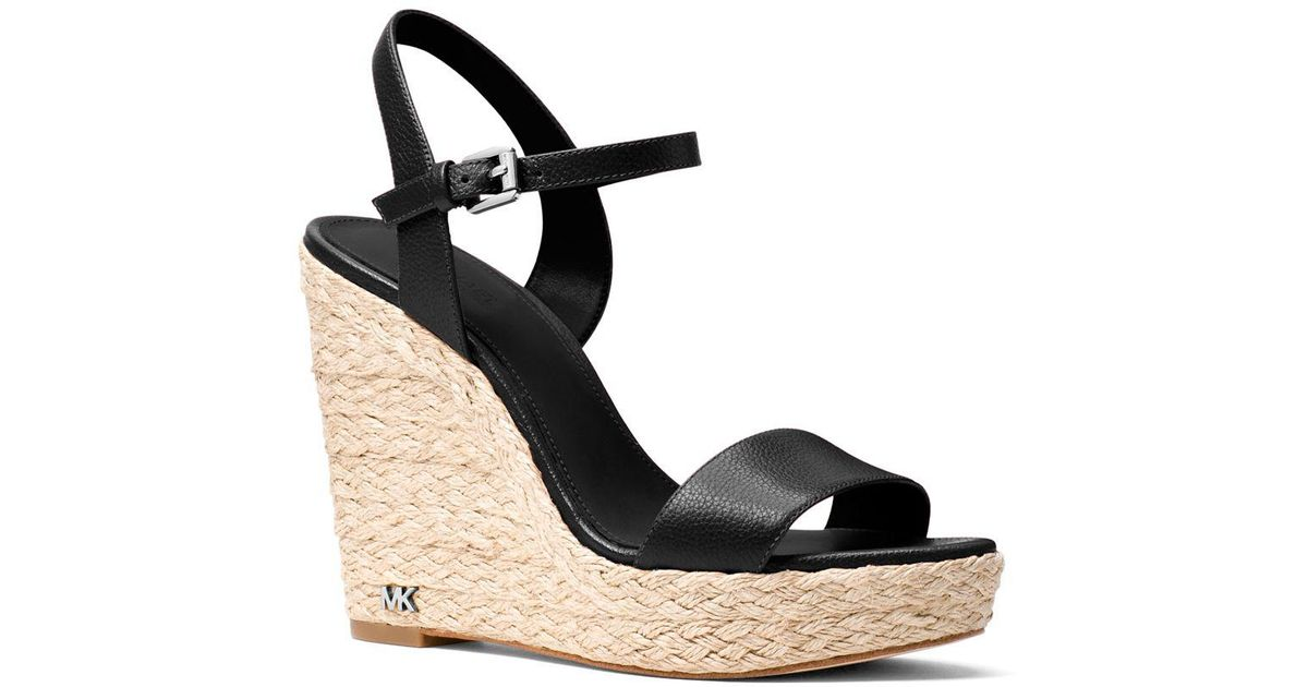 Michael Kors Women's Jill Leather Espadrille Platform Wedge Sandals aRZKyiQI