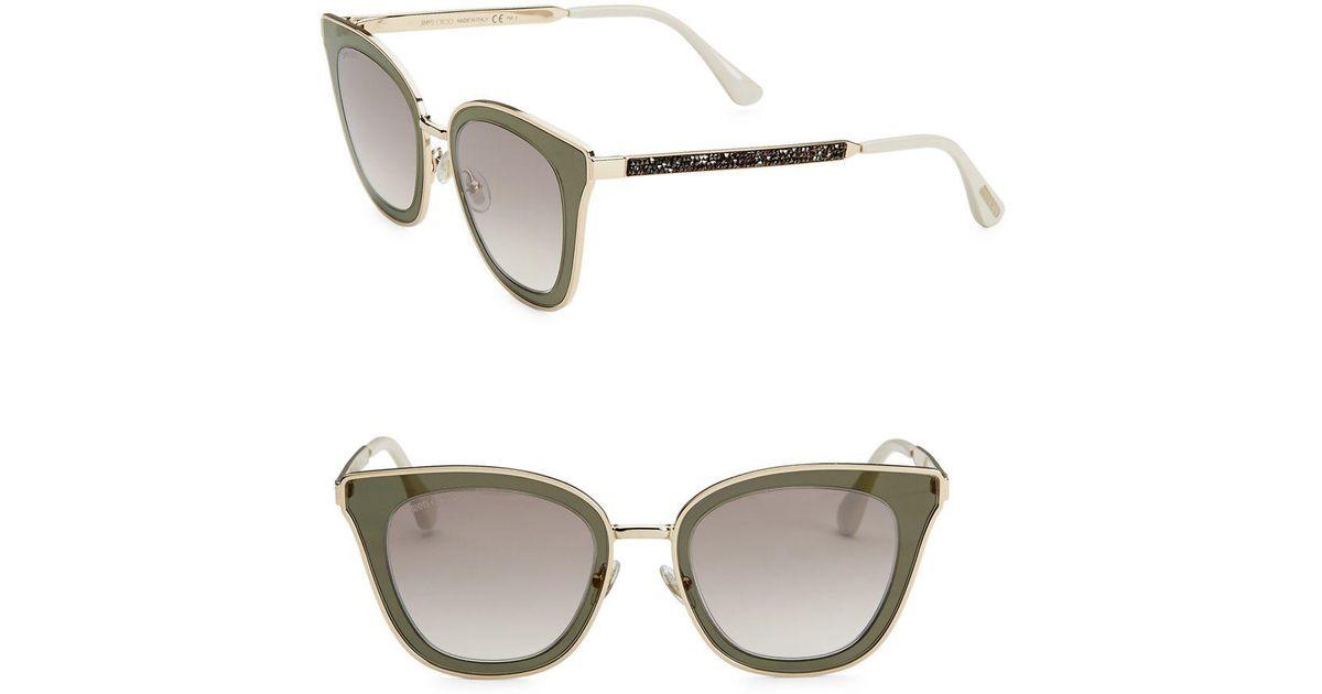 dff935247b0 Jimmy Choo 49mm Lory Transparent Cat Eye Sunglasses in Gray - Lyst