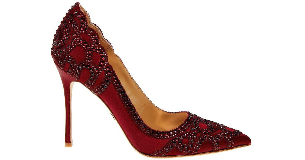 b831b85aea Badgley Mischka Rouge Embellished Pumps in Red - Lyst