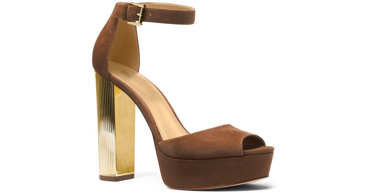 a1e86a32638 Michael Michael Kors Paloma Suede Platform Dress Sandals in Brown - Lyst
