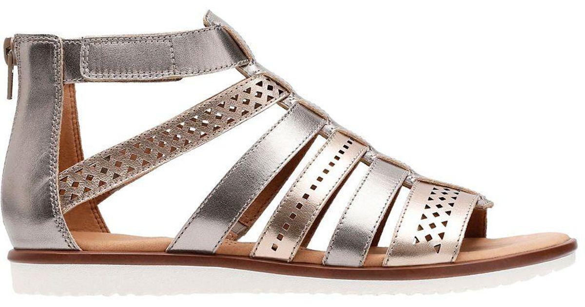 f3590796b3 Clarks Kele Lotus Strappy Leather Sandals in Metallic - Lyst