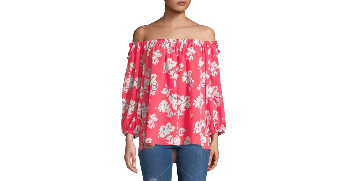 d0a18be878c9cc French Connection Off-the-shoulder Printed Top in Red - Lyst