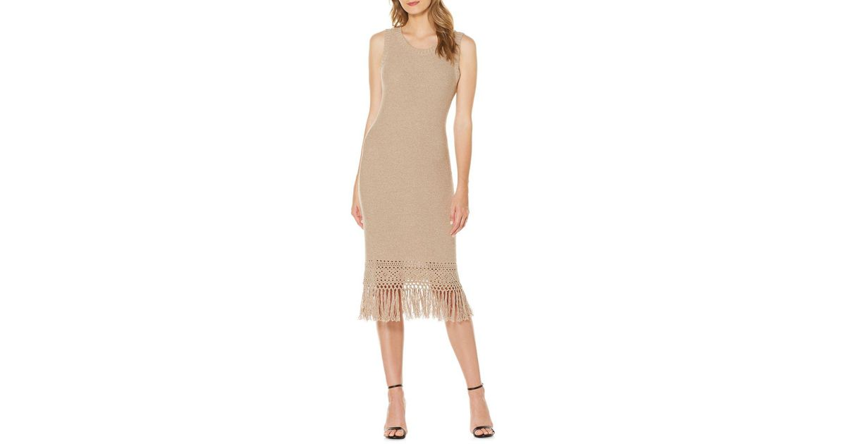 21e9d46c8461 Lyst - Laundry by Shelli Segal Knit Fringe Dress in Natural
