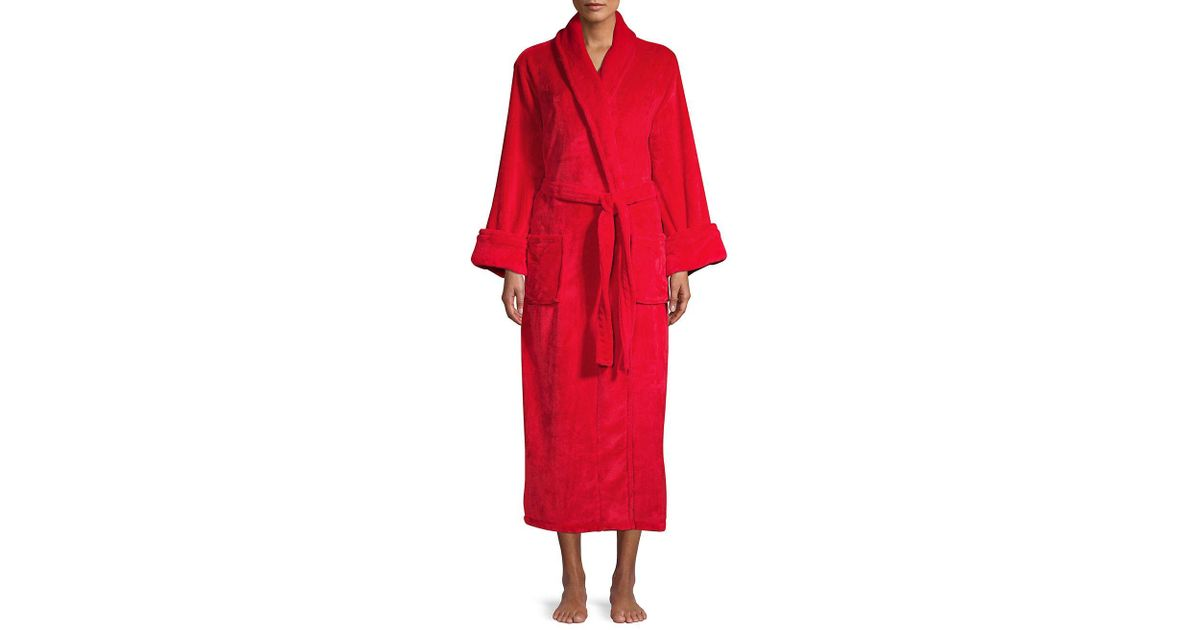 f221651689afd Lyst - Lord & Taylor Classic Long Robe in Red