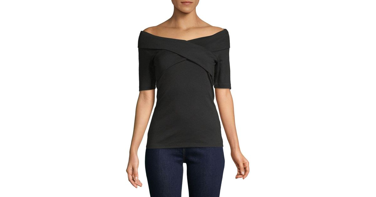 6db78767374d8e Lyst - Lord & Taylor Off-the-shoulder Wrap Top in Black