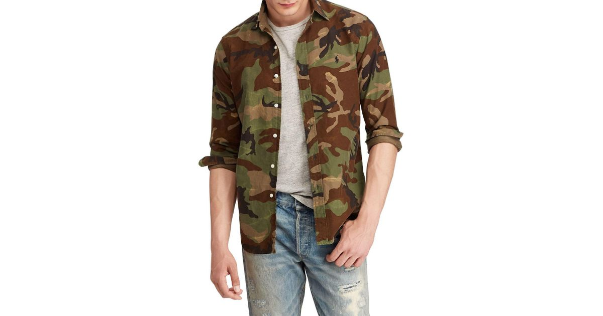 02a96ce62 Polo Ralph Lauren Classic Fit Camo Oxford Shirt in Green for Men - Lyst