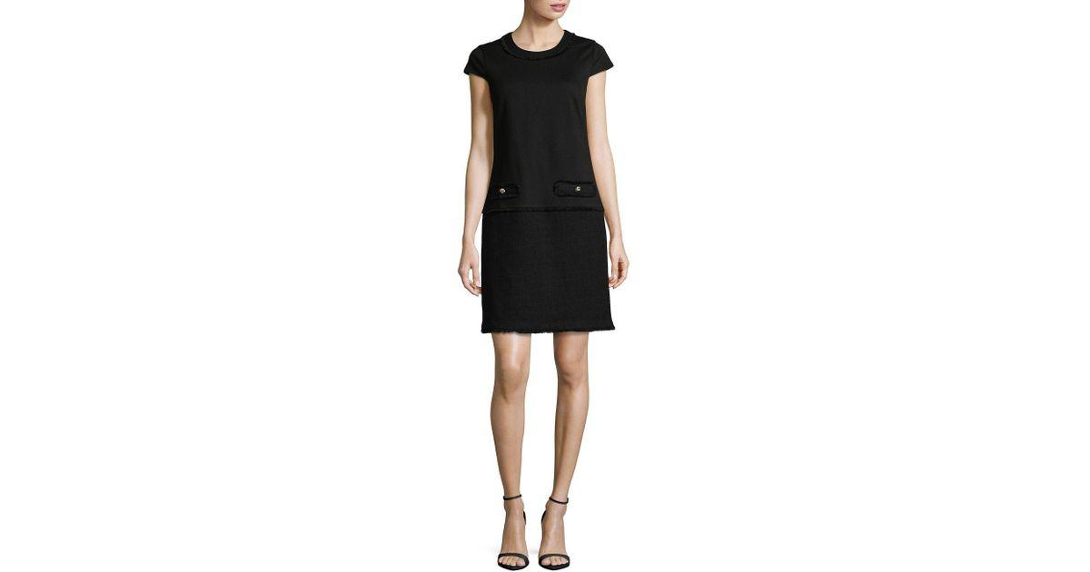 e747162c517 Lyst - Karl Lagerfeld Frayed Tweed Shift Dress in Black
