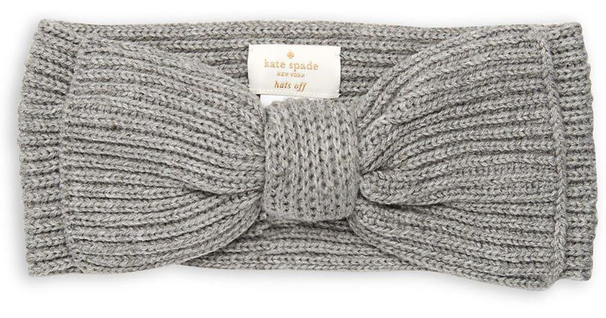 5a590301035 Lyst - Kate Spade Solid Bow Headband in Gray