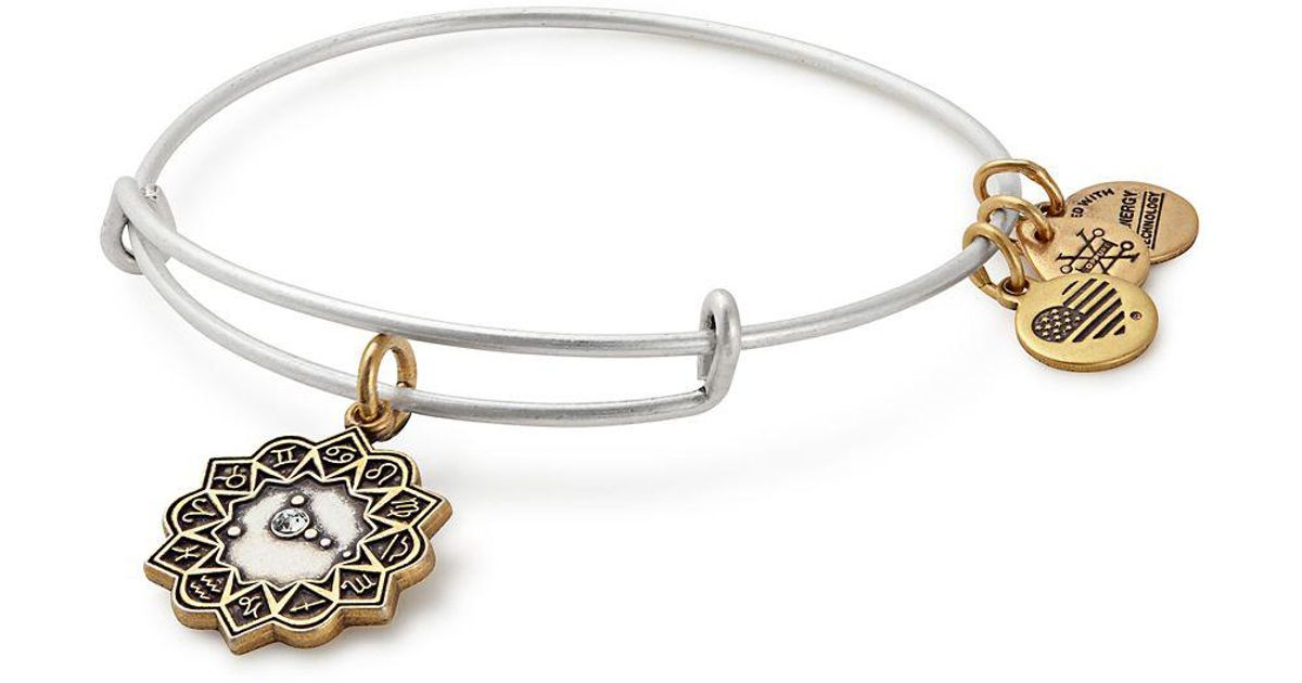 Lyst Alex And Ani Zodiac Cancer Crystal Charm Bangle Bracelet In Metallic