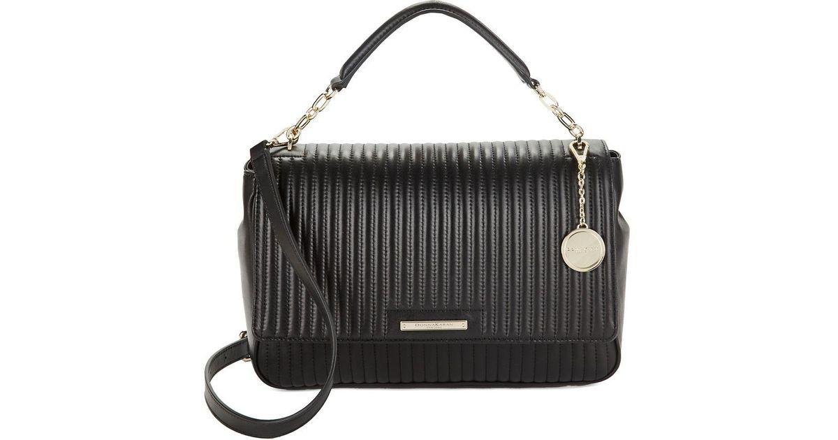 4385da7643c Donna Karan Quilted Chain Shoulder Bag in Black - Lyst