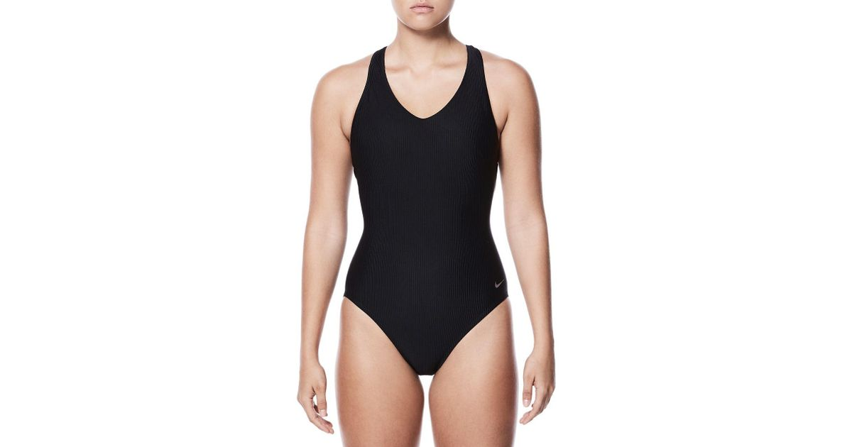 031aa8183e2a8 Nike One-piece Ribbed Racerback Swimsuit in Black - Lyst