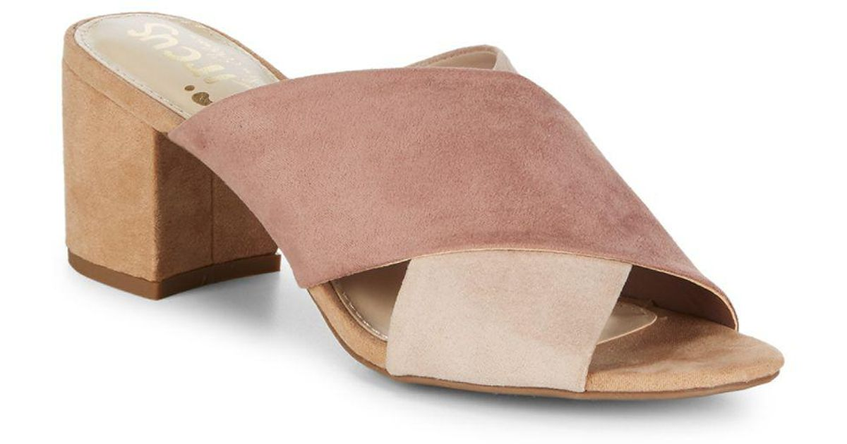 6b9f64bacef6 Lyst - Circus By Sam Edelman Stevie Microsuede Crossover Sandals in Pink