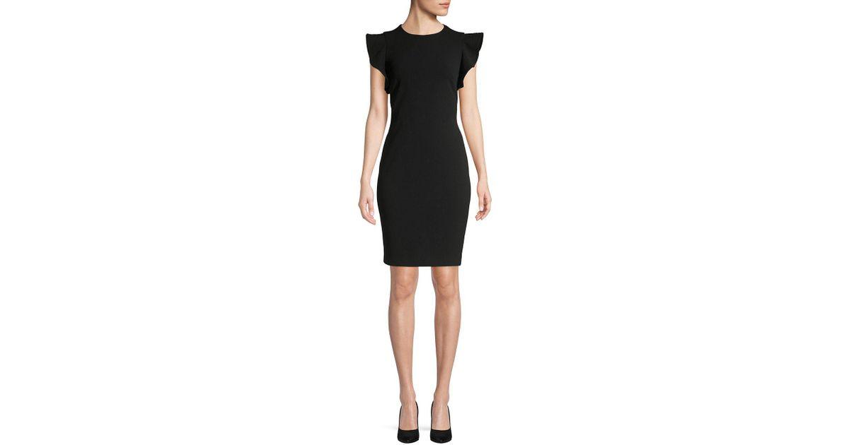 Lyst Calvin Klein Ruffle Cap Sleeve Sheath Dress In Black