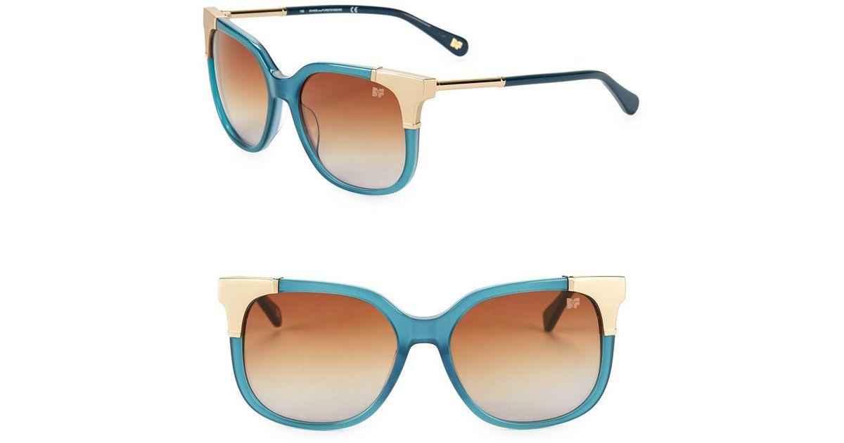 2d4adbad44a62 Lyst - Diane von Furstenberg Roxanne 51mm Square Sunglasses in Blue