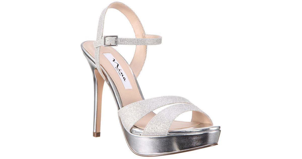76aa2bb5e4c Nina Silana Glitter Platform Sandals in Metallic - Lyst