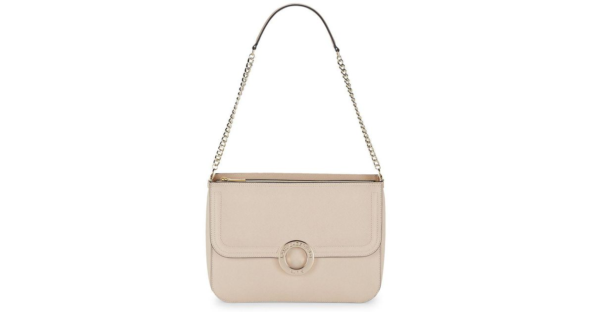 Lyst Karl Lagerfeld Classic Faux Leather Shoulder Bag In Natural Save 12 658227848101262