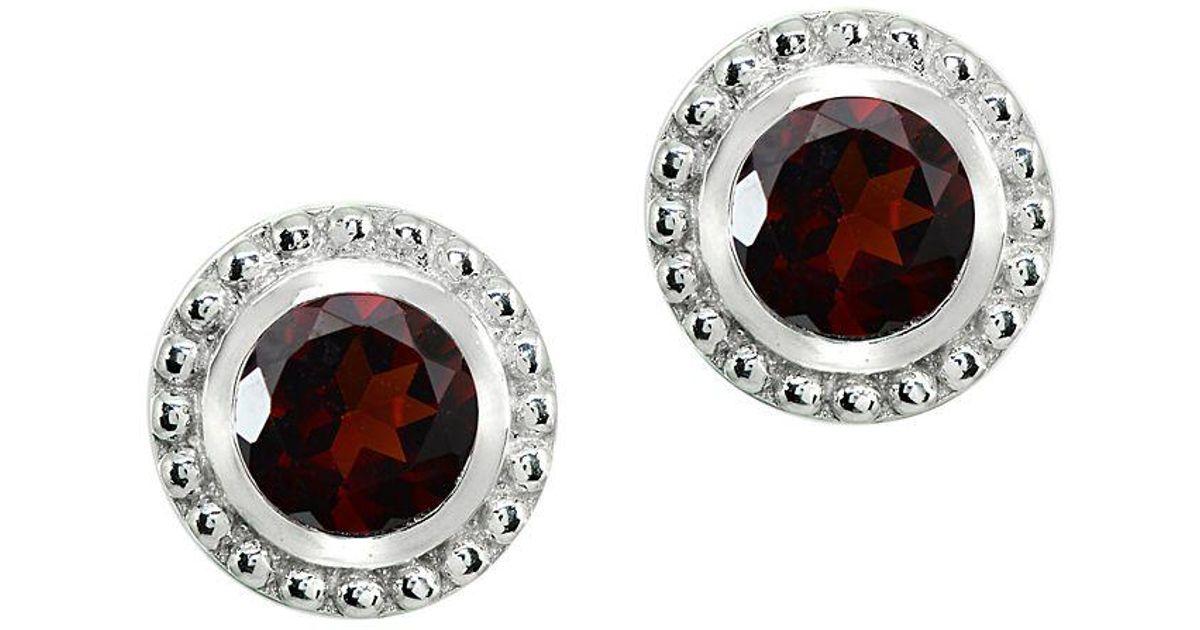 5725443db Lyst - Lord + Taylor Sterling Silver & Garnet Stud Earrings in Red
