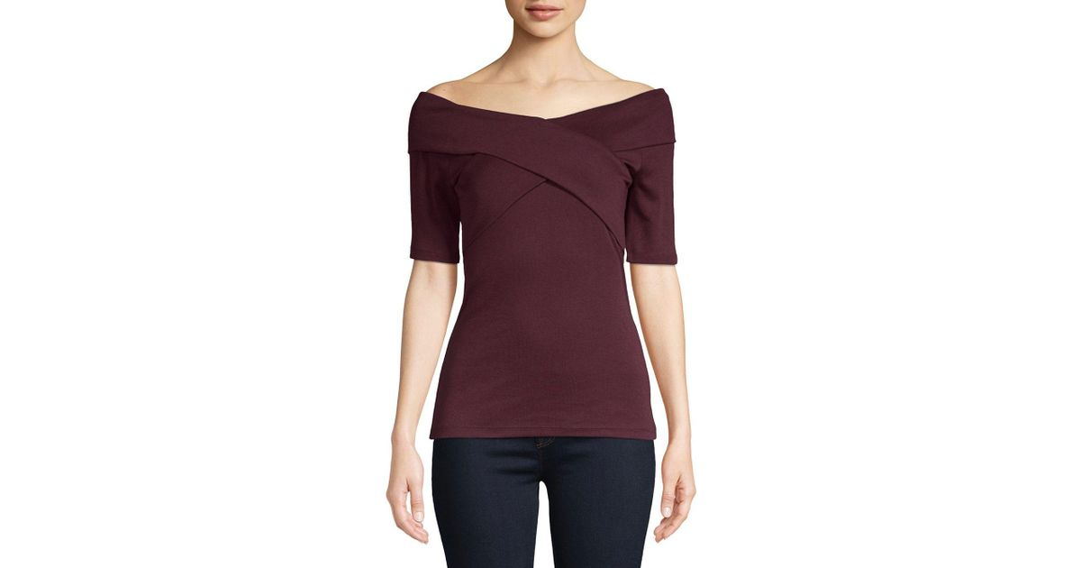 cc7841359ecc2a Lyst - Lord & Taylor Off-the-shoulder Wrap Top in Purple