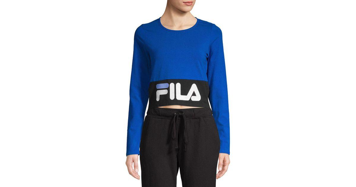 4872923d8f Fila Maria Logo Crop Top in Blue - Lyst