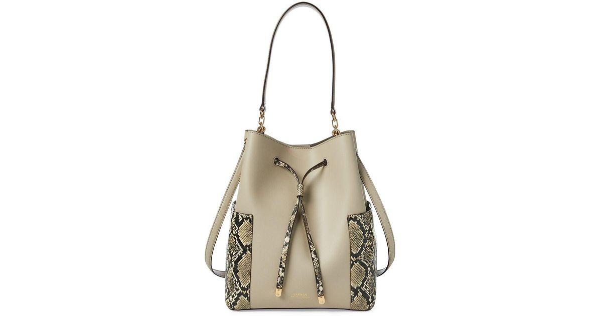 8be039537f9 Lyst - Lauren By Ralph Lauren Debby Drawstring Bag in Natural