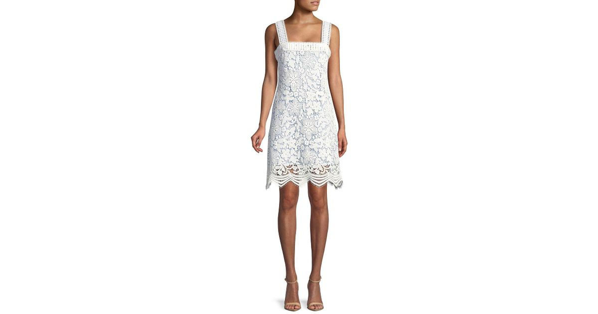 Lord Taylor Lace Overlay Shift Dress In White Lyst