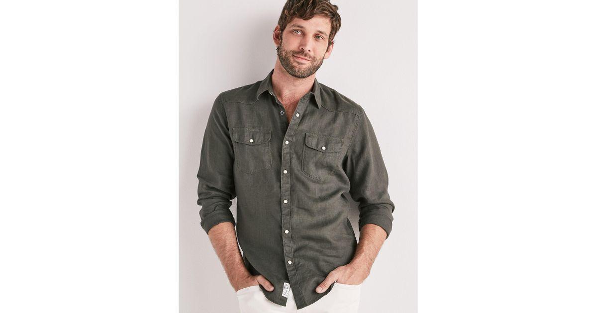 7b9c1fcdee Lyst - Lucky Brand Laguna Linen Western Shirt in Black for Men