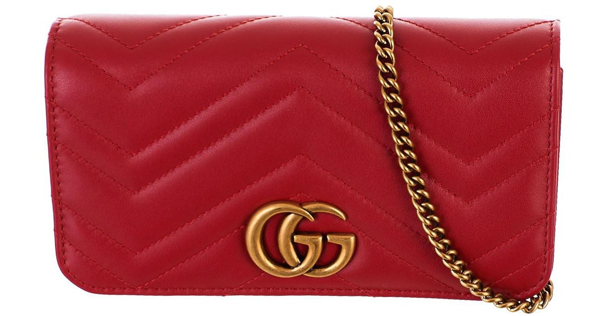 1deb5deef Gucci Borsa Supermini GG Marmont Rossa in Red - Lyst
