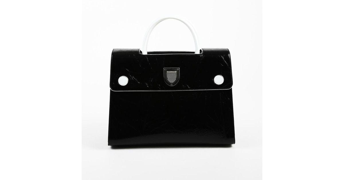 ae27628a0edc Dior Black   White Leather Top Handle Medium