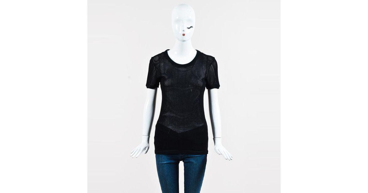 d2b3061065f706 Lyst - Burberry Prorsum Black Mesh Grommet Accent Ss Top in Black