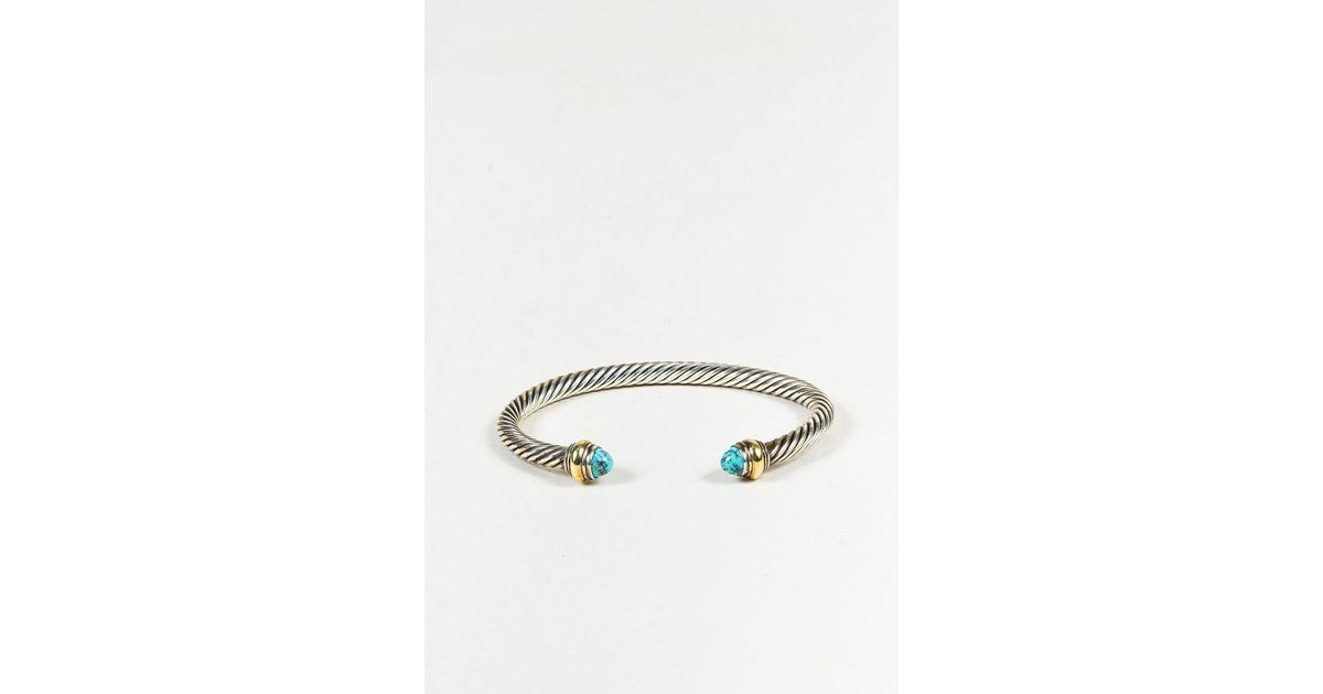 David Yurman Cable Classics sterling silver, onyx & 14kt yellow gold accented cuff bracelet - Metallic