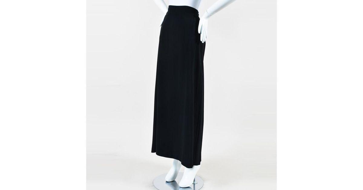 7b1e4847f8 Lyst - Jean Paul Gaultier Black Tie Waist Pleated Back Maxi Skirt in Black