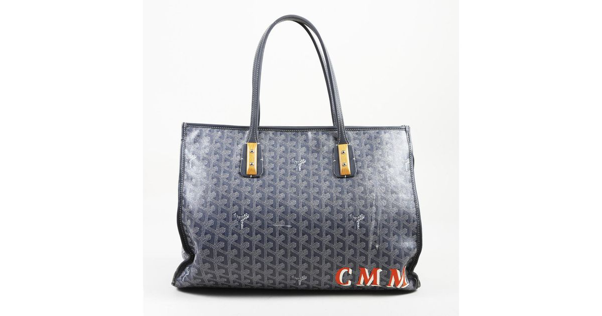 9840d559fefa Lyst - Goyard Pre-owned Marquises Blue Cloth Handbags in Blue - Save  7.430340557275542%