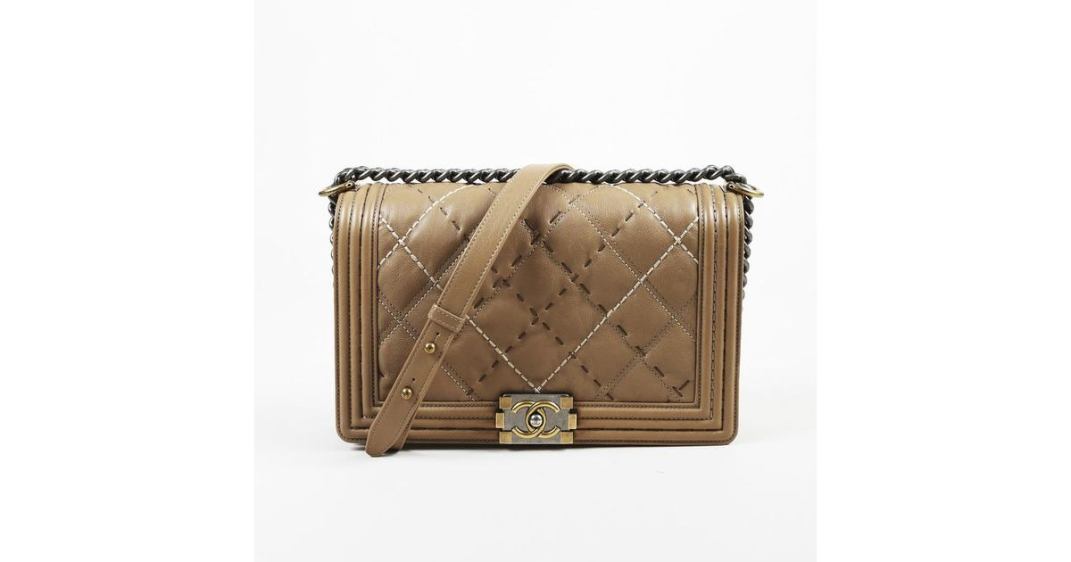 8b16022ff93 Chanel Brown Leather