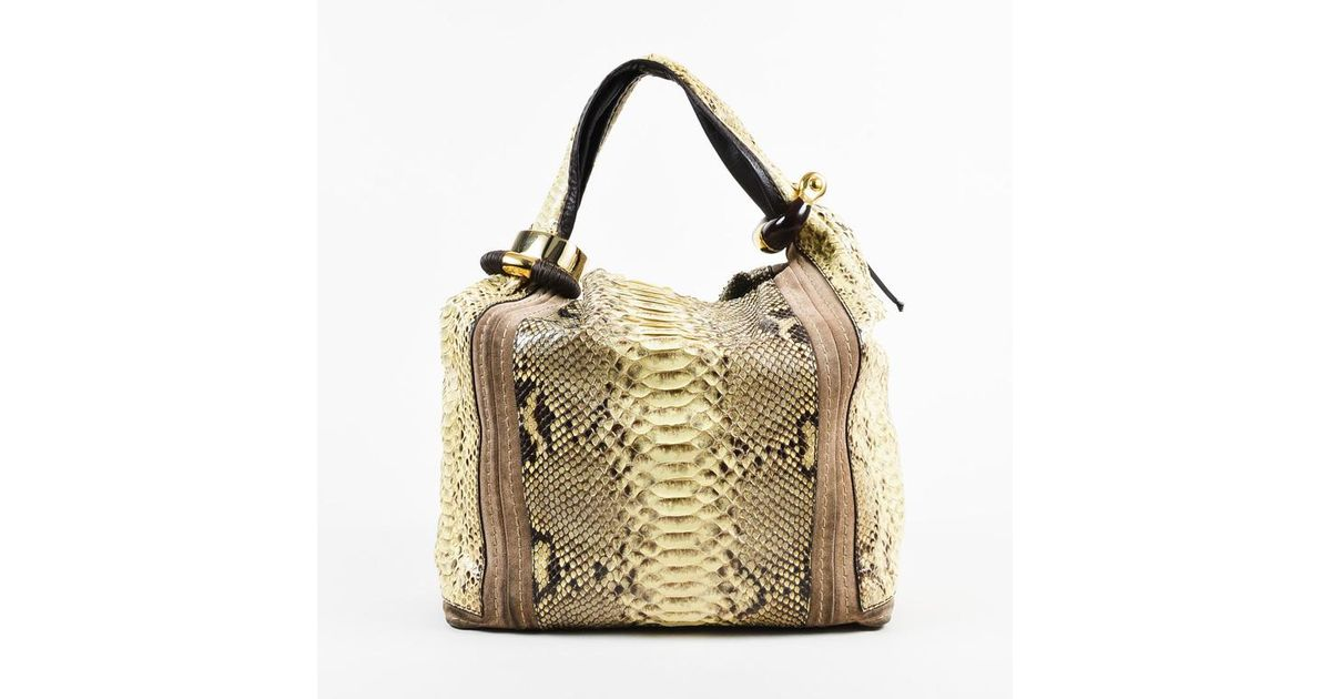 Jimmy Choo Cream Brown Snakeskin   Suede Trimmed Gold Tone Hobo Bag in Brown  - Lyst e2b055a1a1024