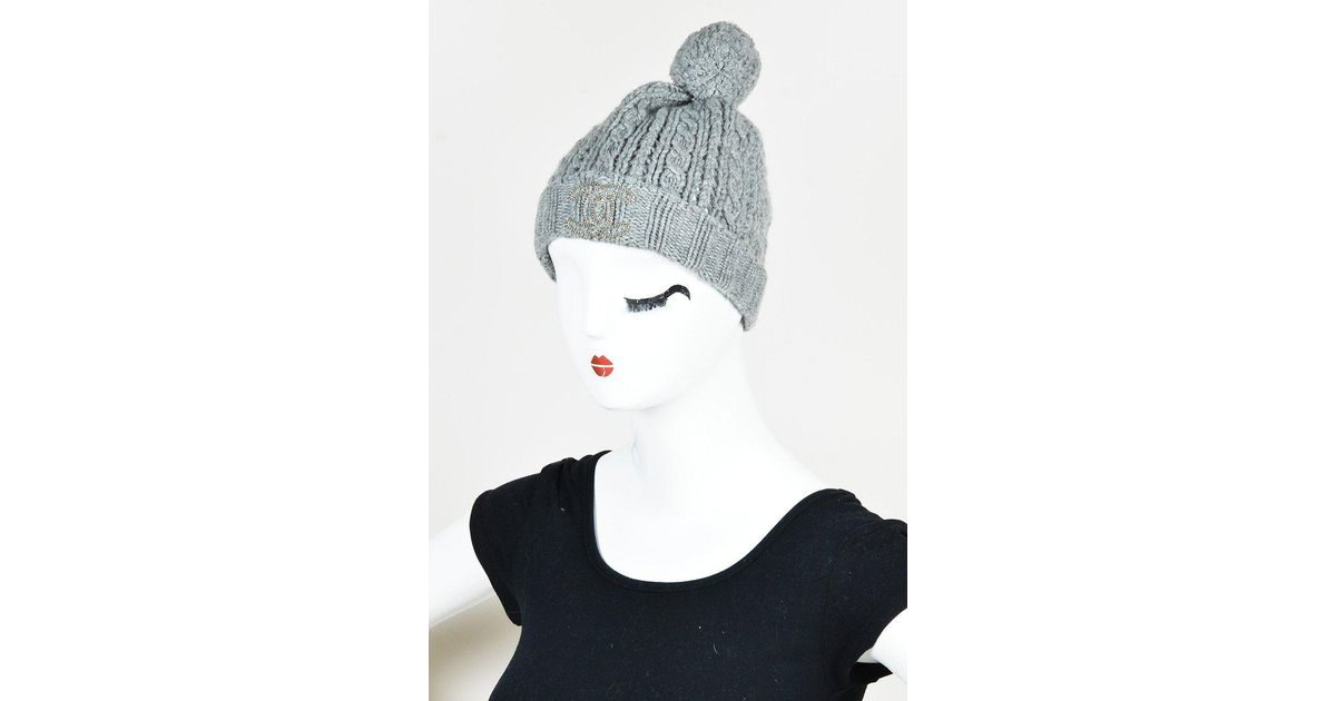 359a273f6a7 Lyst - Chanel Gray Cashmere Cable Knit Pom Pom Beanie Hat in Gray