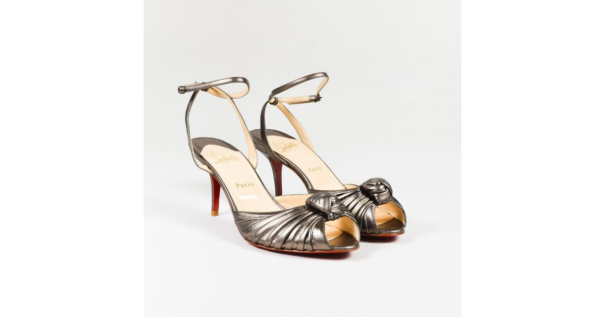0140d17296e Christian Louboutin Pewter Gray Leather Ankle Wrap