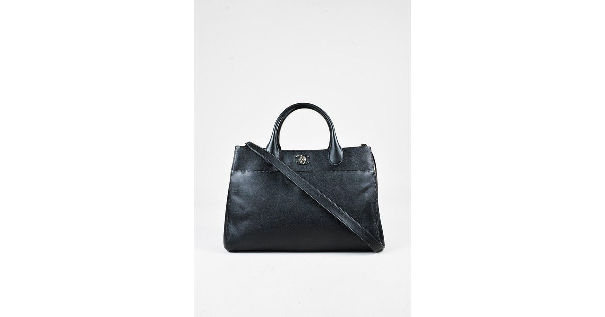 034cb9a6b6fe Chanel Black Grained Leather 'cc'