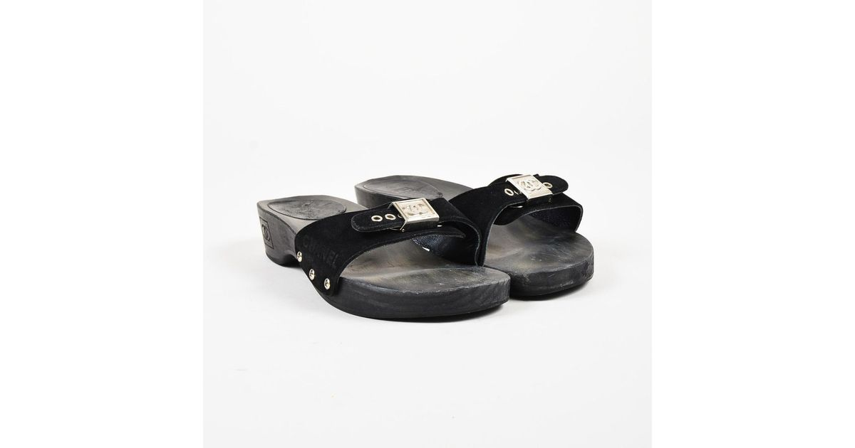 e927b415c5e2 Lyst - Chanel Identification Black Suede Wooden Platform  cc  Buckle Mules  in Black