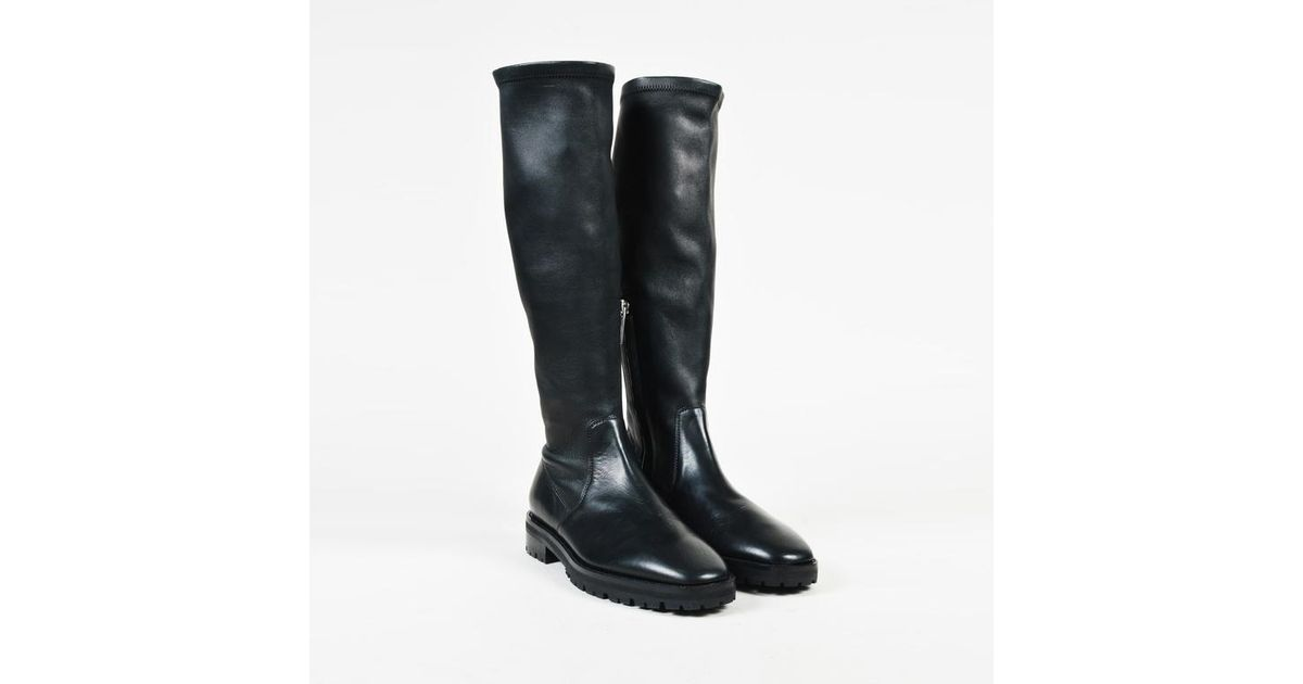 802704ca Lyst - The Row Black Leather Fiona Knee High Boots in Black
